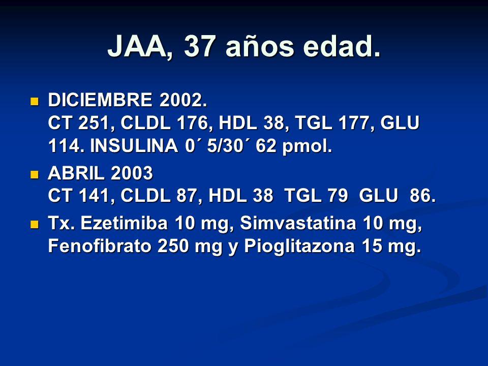 JAA, 37 años edad. DICIEMBRE 2002. CT 251, CLDL 176, HDL 38, TGL 177, GLU 114. INSULINA 0´ 5/30´ 62 pmol.
