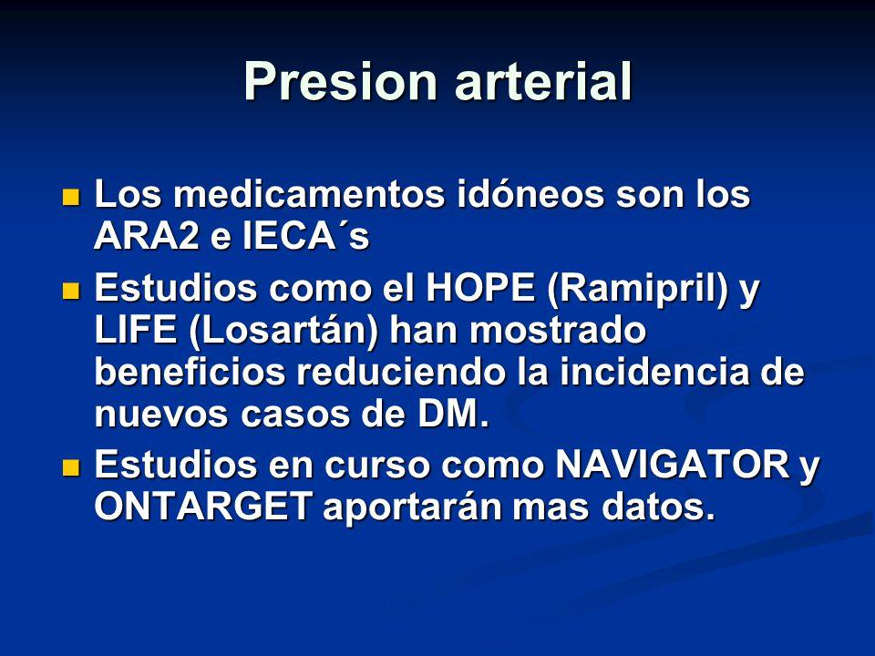 Presion arterial Los medicamentos idóneos son los ARA2 e IECA´s