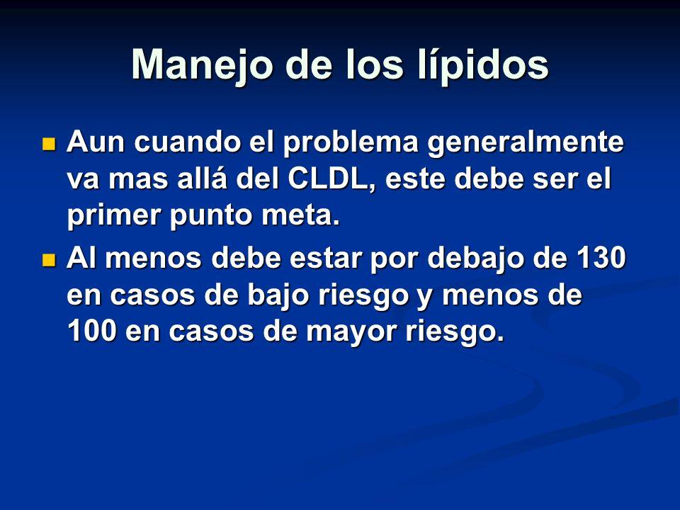 Manejo de los lípidos Aun cuando el problema generalmente va mas allá del CLDL, este debe ser el primer punto meta.