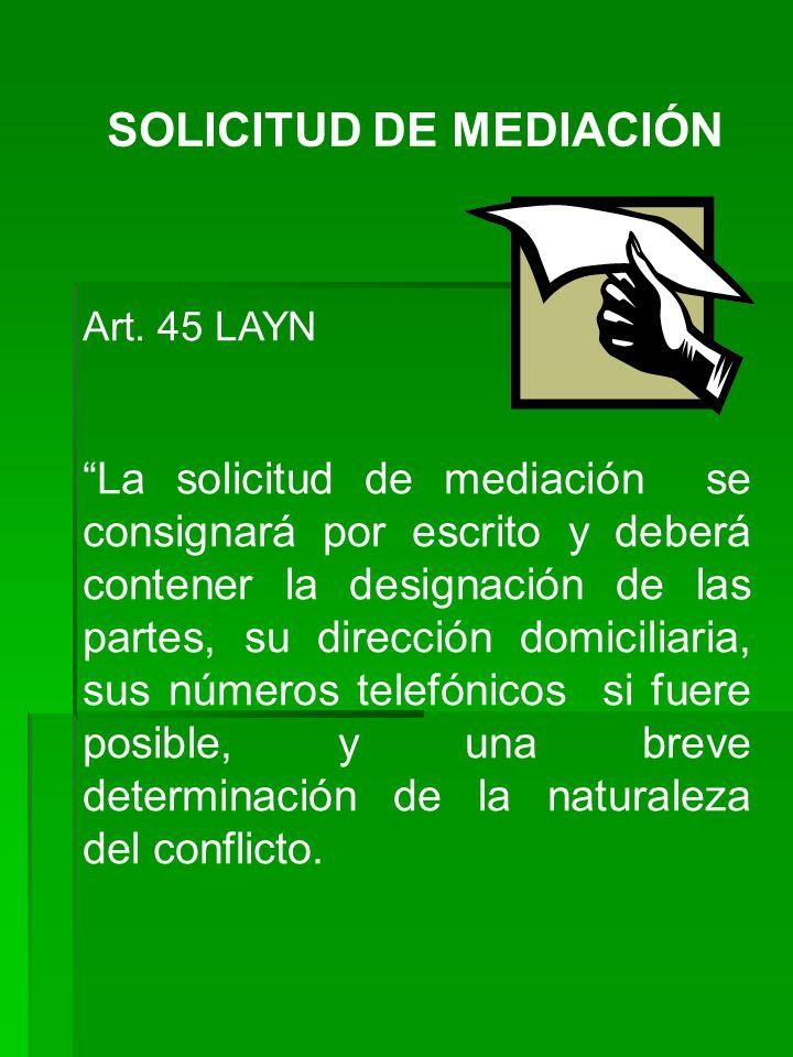 SOLICITUD DE MEDIACIÓN