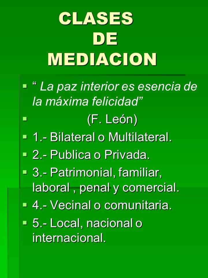 CLASES DE MEDIACION La paz interior es esencia de la máxima felicidad (F. León)