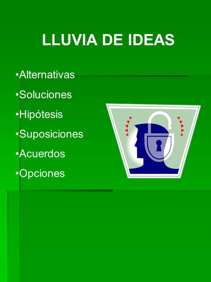 LLUVIA DE IDEAS Alternativas Soluciones Hipótesis Suposiciones
