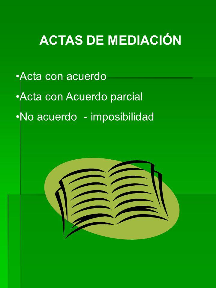 ACTAS DE MEDIACIÓN Acta con acuerdo Acta con Acuerdo parcial
