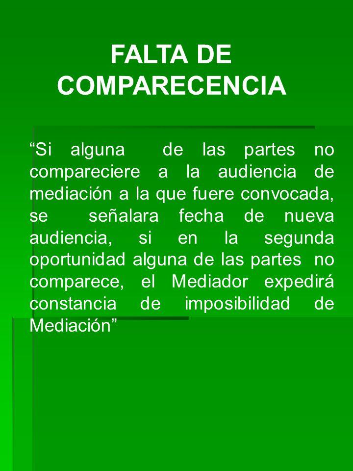 FALTA DE COMPARECENCIA