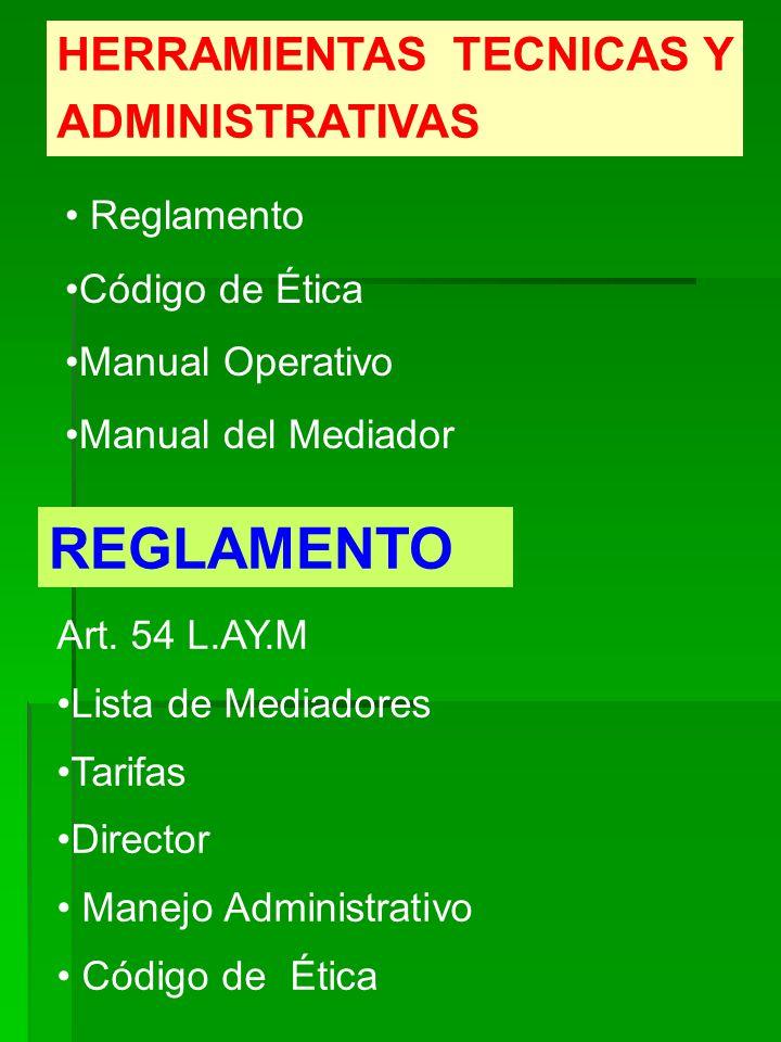 REGLAMENTO HERRAMIENTAS TECNICAS Y ADMINISTRATIVAS Reglamento