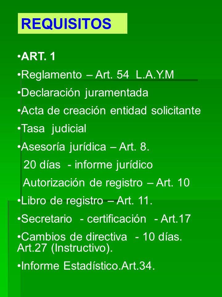 REQUISITOS ART. 1 Reglamento – Art. 54 L.A.Y.M Declaración juramentada