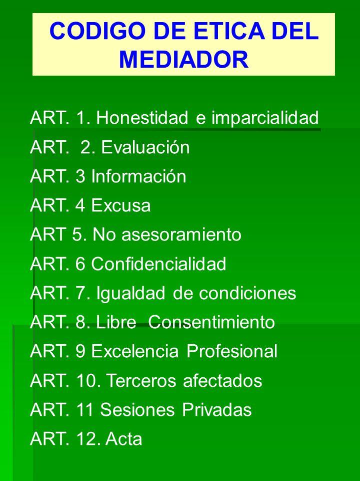 CODIGO DE ETICA DEL MEDIADOR