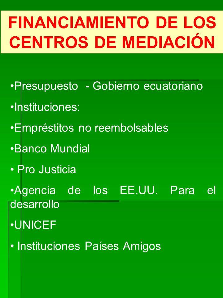 FINANCIAMIENTO DE LOS CENTROS DE MEDIACIÓN