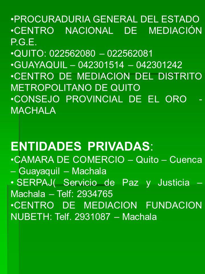 ENTIDADES PRIVADAS: PROCURADURIA GENERAL DEL ESTADO