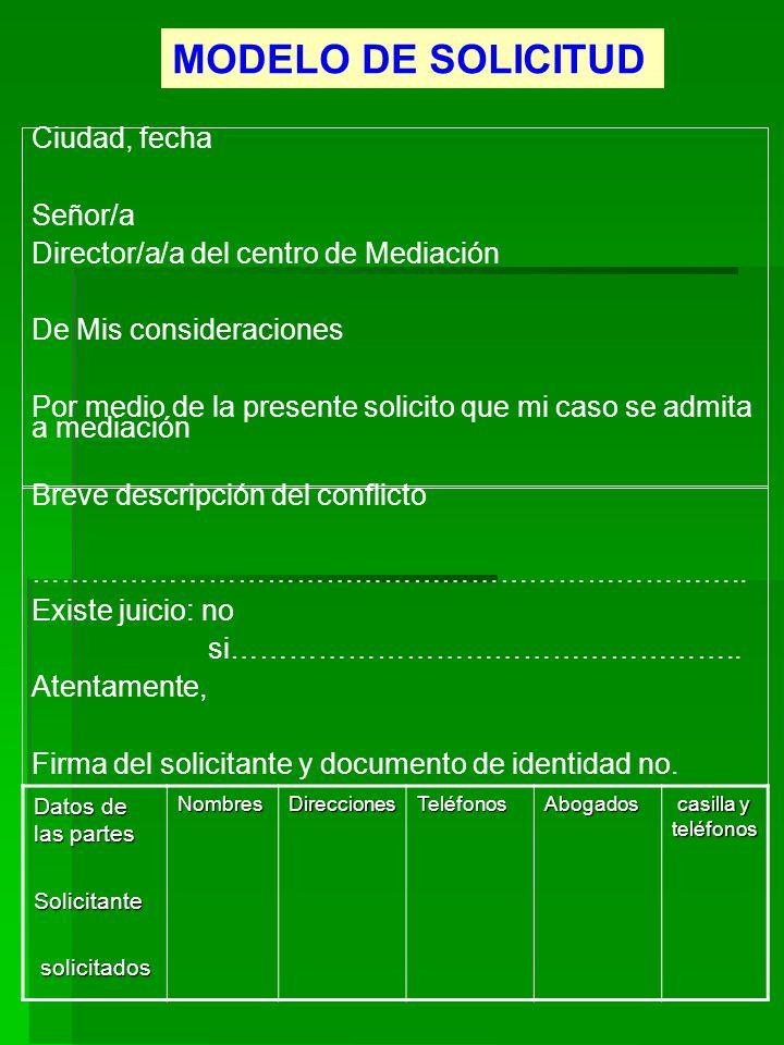 MODELO DE SOLICITUD Ciudad, fecha Señor/a