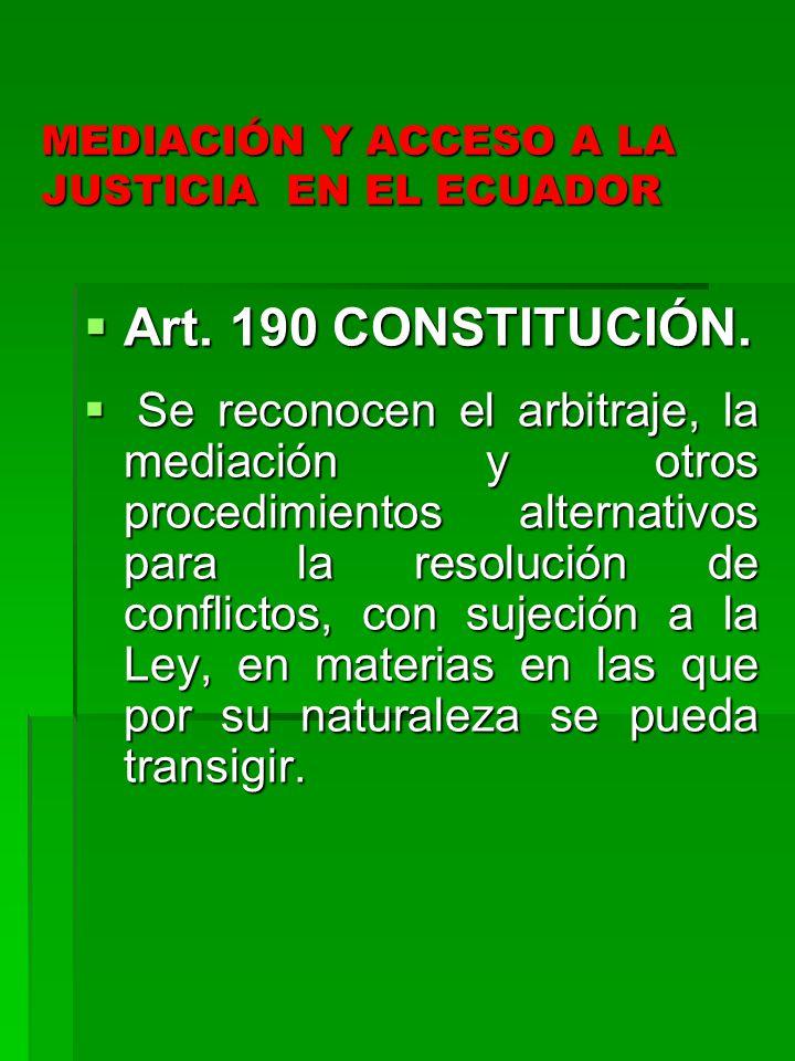 MEDIACIÓN Y ACCESO A LA JUSTICIA EN EL ECUADOR