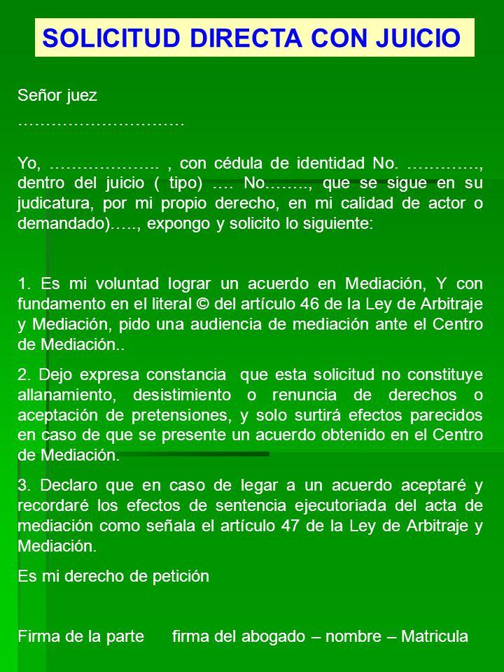 SOLICITUD DIRECTA CON JUICIO
