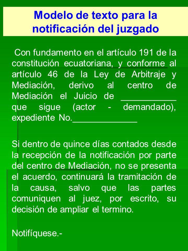 Modelo de texto para la notificación del juzgado