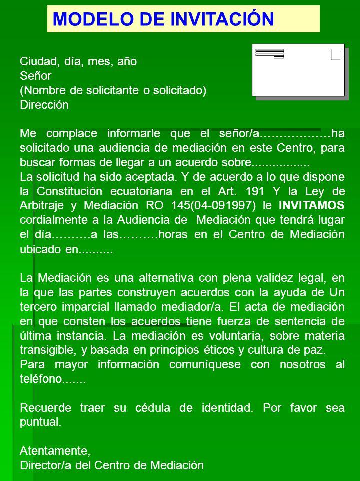 MODELO DE INVITACIÓN Ciudad, día, mes, año Señor