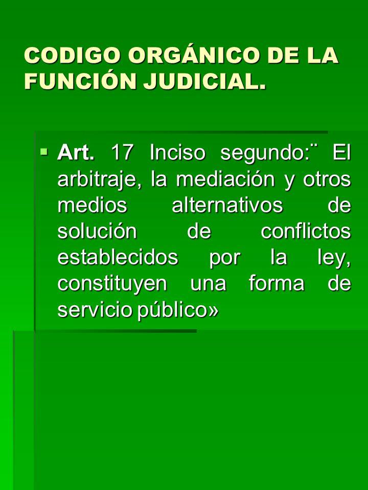 CODIGO ORGÁNICO DE LA FUNCIÓN JUDICIAL.