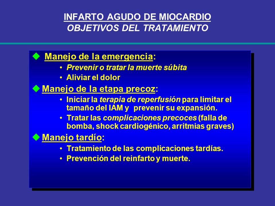 INFARTO AGUDO DE MIOCARDIO OBJETIVOS DEL TRATAMIENTO