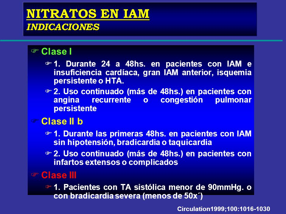 NITRATOS EN IAM INDICACIONES Clase I Clase II b Clase III