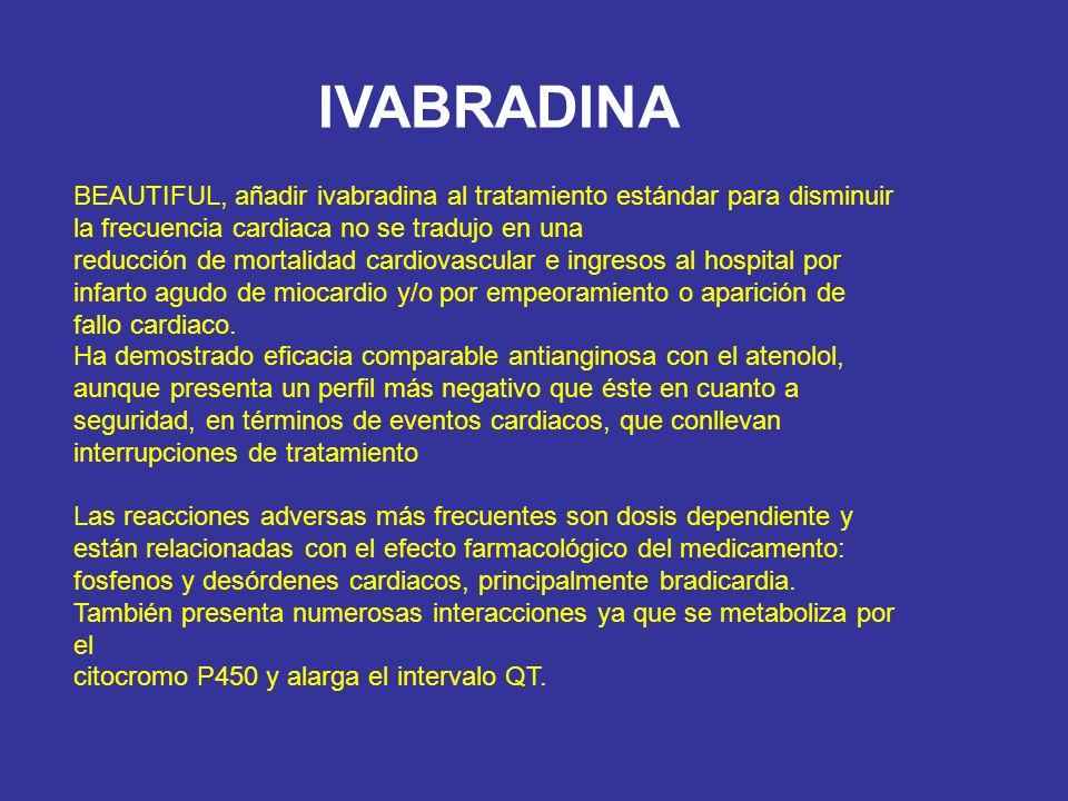 IVABRADINA BEAUTIFUL, añadir ivabradina al tratamiento estándar para disminuir la frecuencia cardiaca no se tradujo en una.