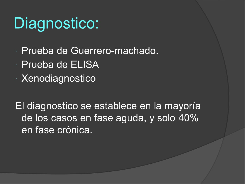 Diagnostico: Prueba de Guerrero-machado. Prueba de ELISA