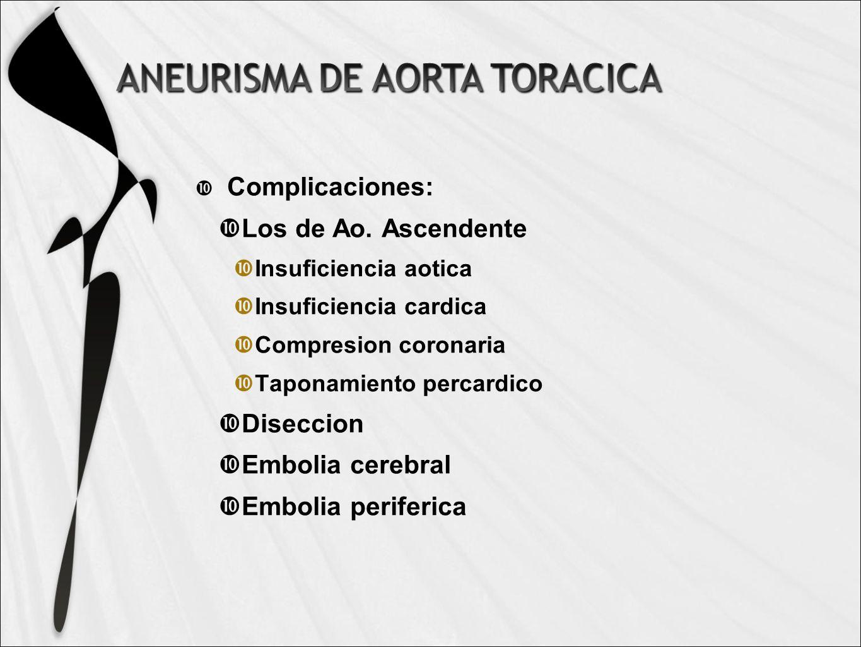 Complicaciones: Los de Ao. Ascendente Diseccion Embolia cerebral