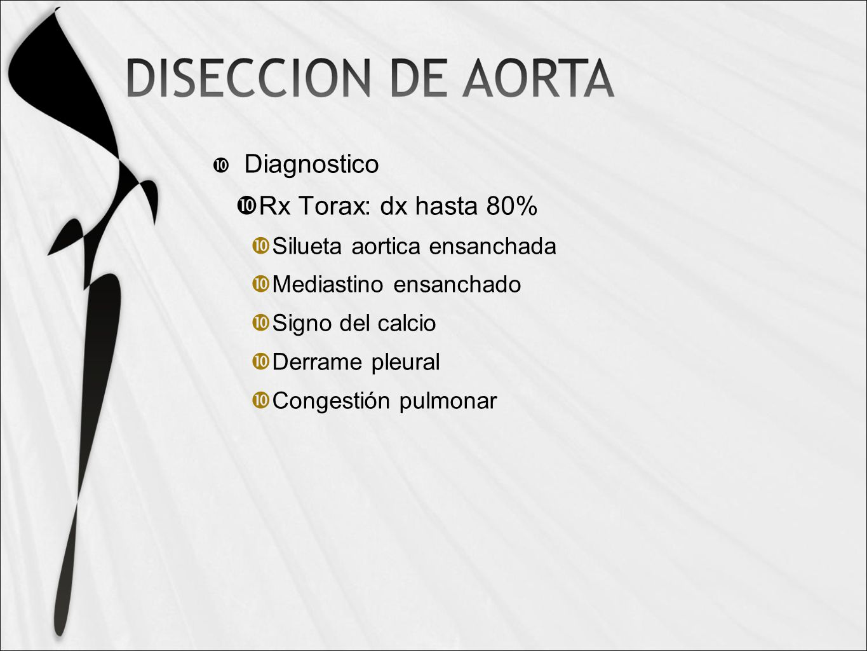 Diagnostico Rx Torax: dx hasta 80% Silueta aortica ensanchada