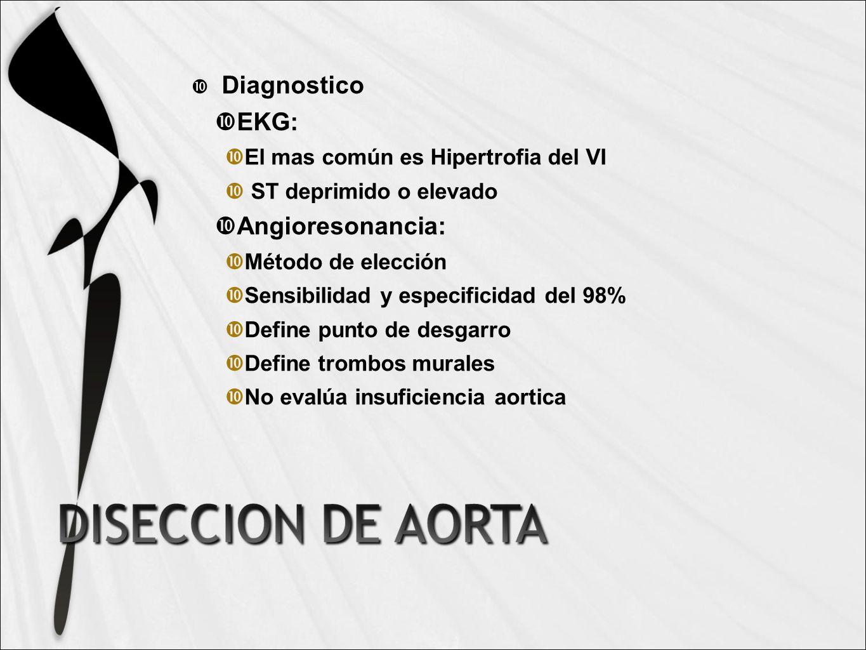 Diagnostico EKG: Angioresonancia: El mas común es Hipertrofia del VI