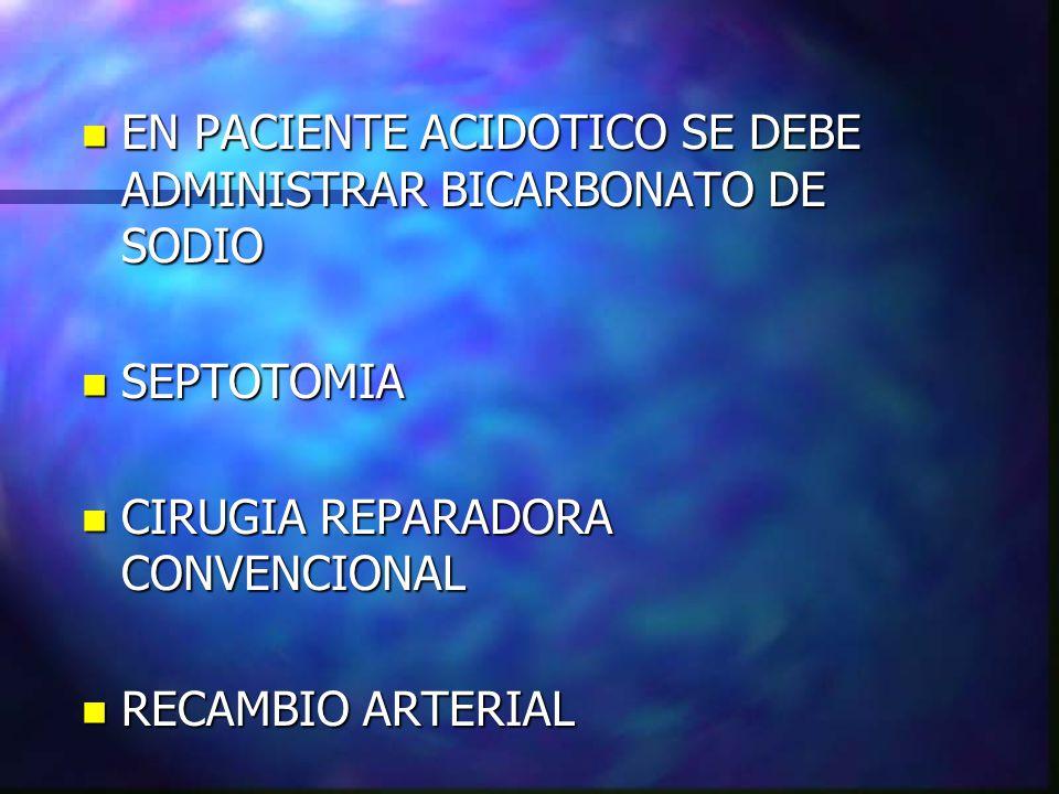 EN PACIENTE ACIDOTICO SE DEBE ADMINISTRAR BICARBONATO DE SODIO