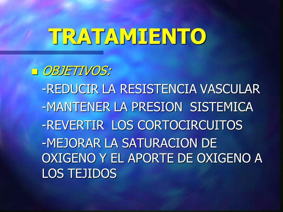 TRATAMIENTO OBJETIVOS: -REDUCIR LA RESISTENCIA VASCULAR