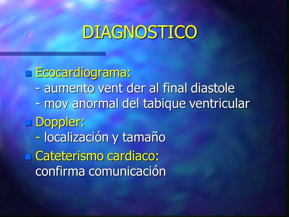 DIAGNOSTICO Ecocardiograma: - aumento vent der al final diastole - mov anormal del tabique ventricular.
