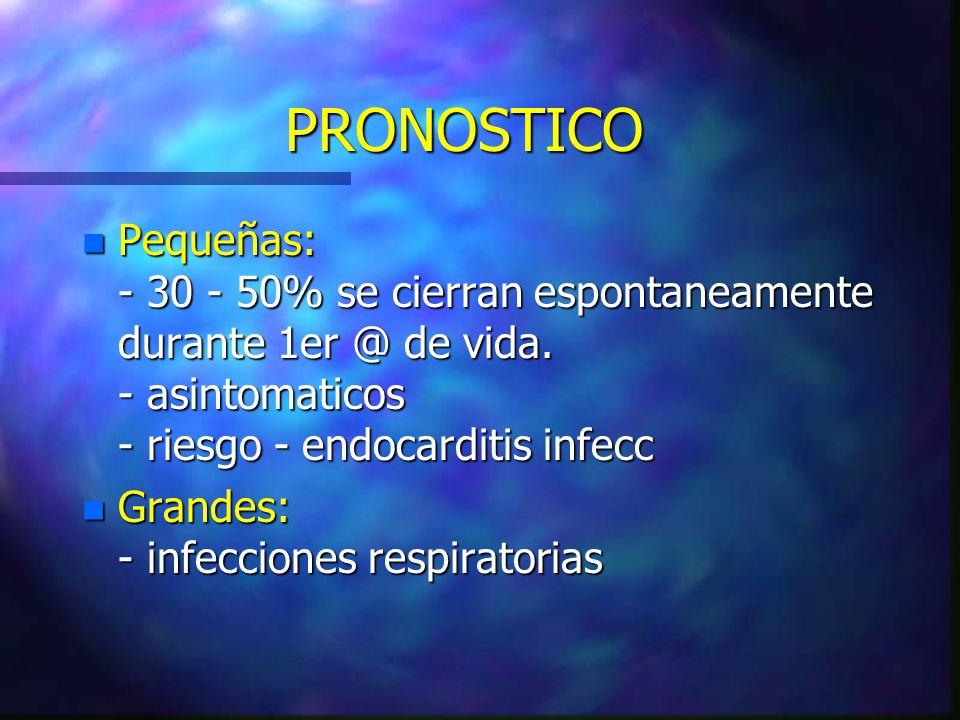 PRONOSTICO Pequeñas: - 30 - 50% se cierran espontaneamente durante 1er @ de vida. - asintomaticos - riesgo - endocarditis infecc.