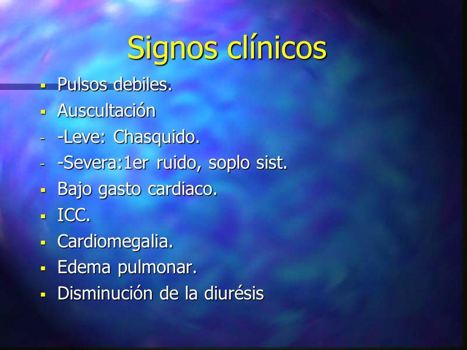 Signos clínicos Pulsos debiles. Auscultación -Leve: Chasquido.
