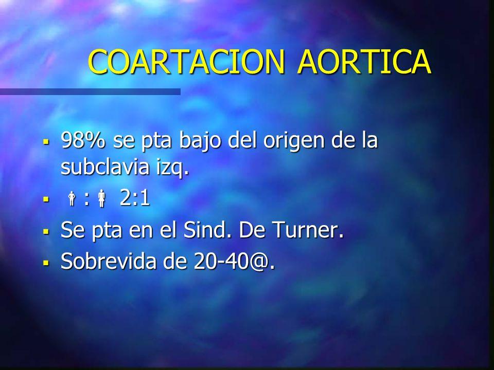 COARTACION AORTICA 98% se pta bajo del origen de la subclavia izq.
