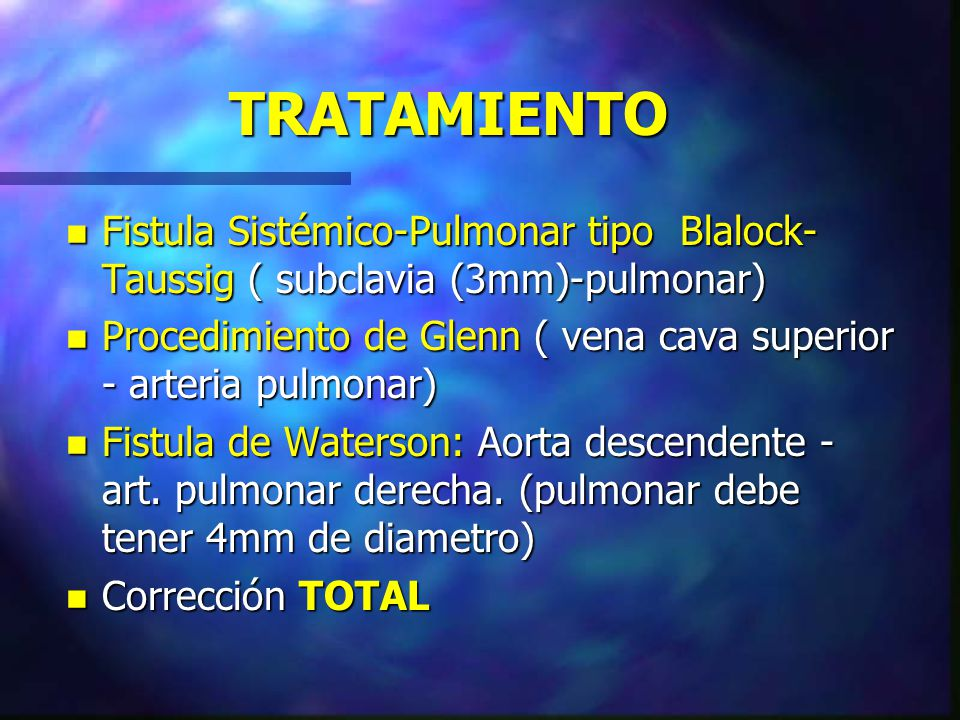 TRATAMIENTO Fistula Sistémico-Pulmonar tipo Blalock-Taussig ( subclavia (3mm)-pulmonar)