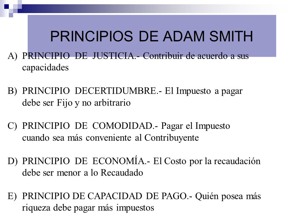 PRINCIPIOS DE ADAM SMITH