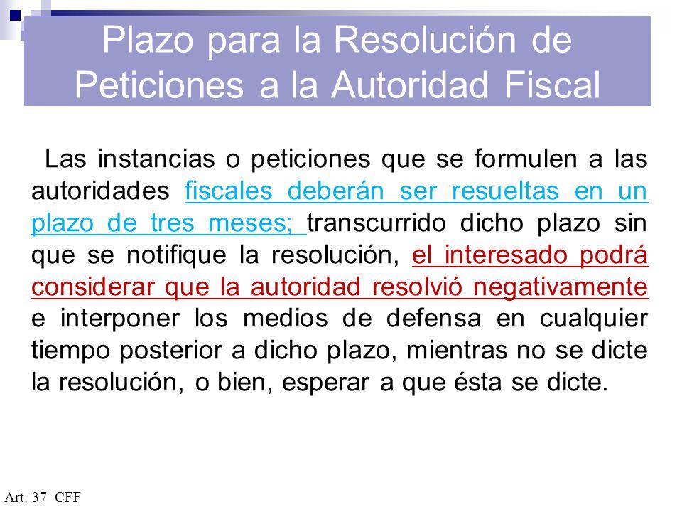 Plazo para la Resolución de Peticiones a la Autoridad Fiscal