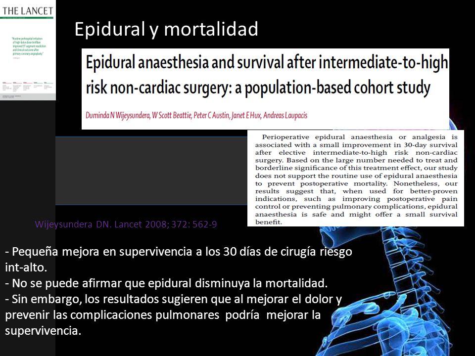 Epidural y mortalidad Wijeysundera DN. Lancet 2008; 372: 562-9.