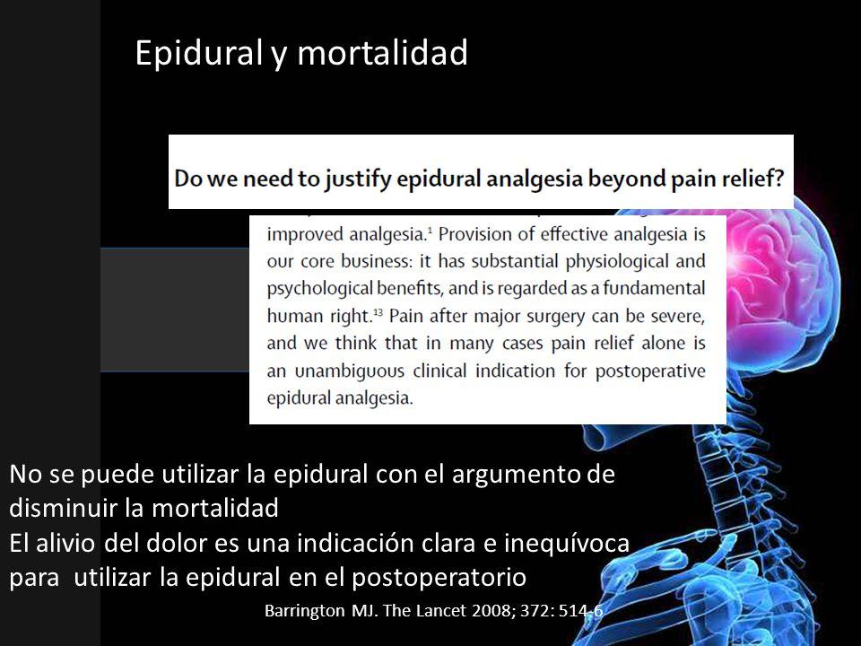 Epidural y mortalidad Es un articulo comentario del artículo (Wijeysundera DN. Lancet 2008; 372: 562-9 ),