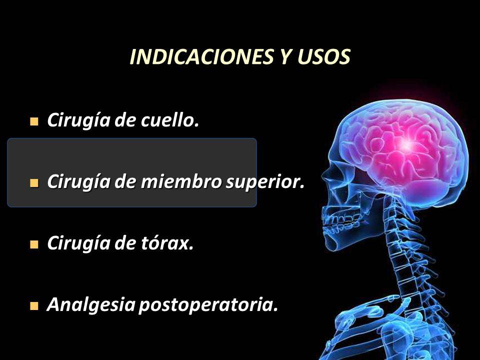 INDICACIONES Y USOS Cirugía de cuello. Cirugía de miembro superior.