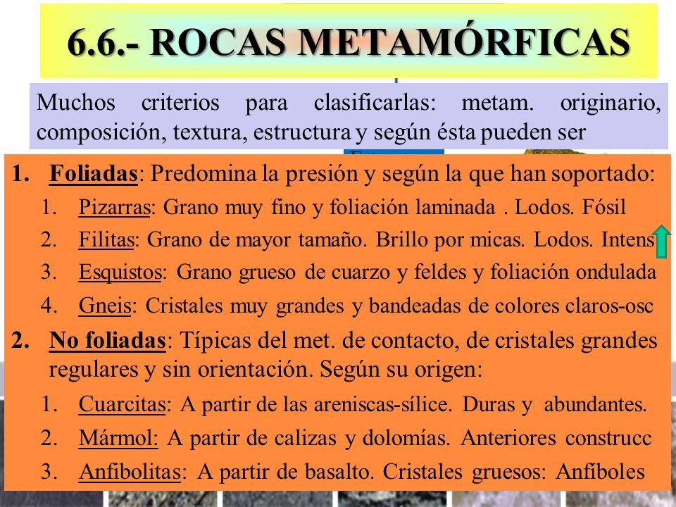 6.6.- ROCAS METAMÓRFICAS Muchos criterios para clasificarlas: metam. originario, composición, textura, estructura y según ésta pueden ser.