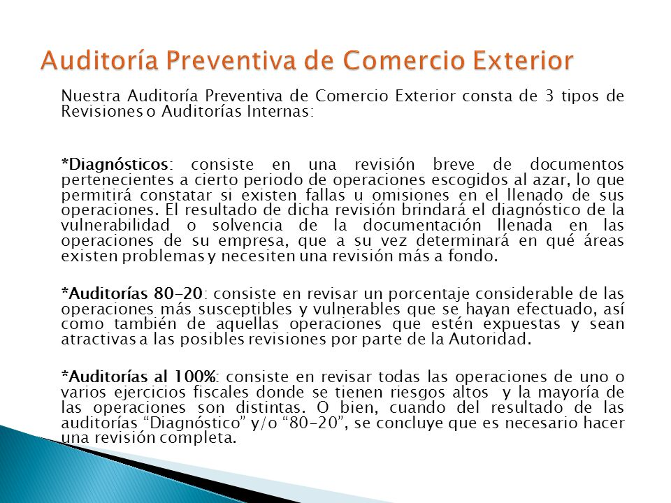 Auditoría Preventiva de Comercio Exterior