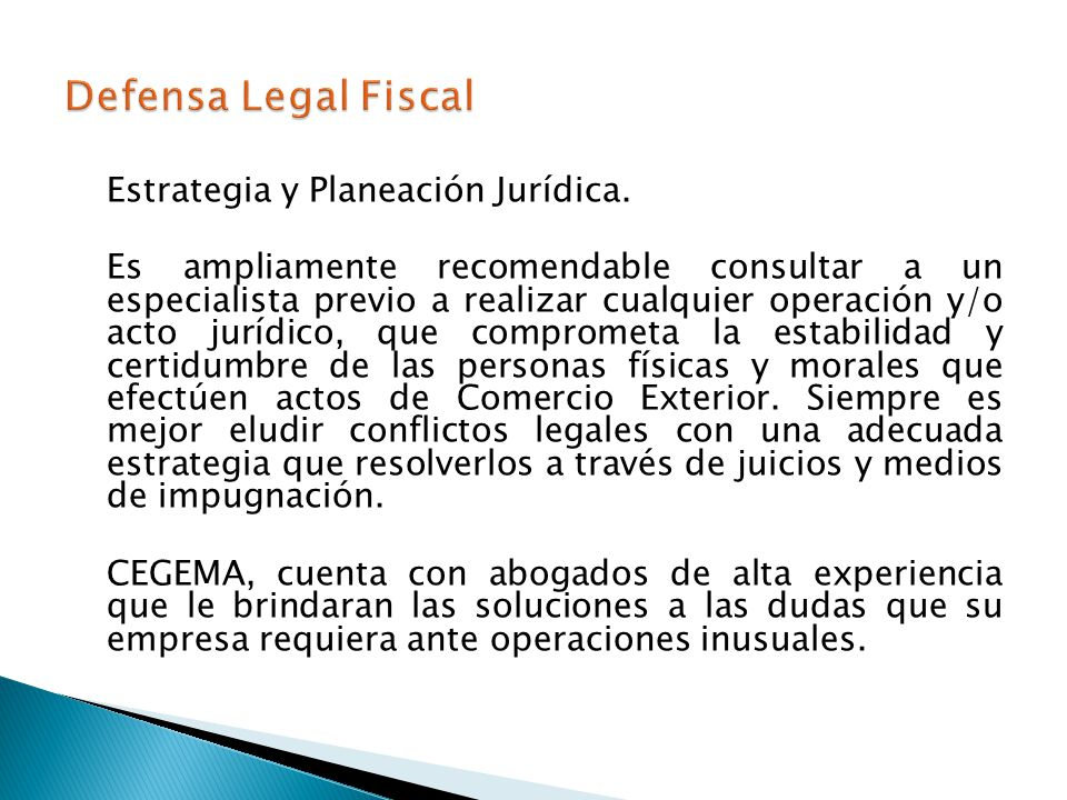 Defensa Legal Fiscal Estrategia y Planeación Jurídica.
