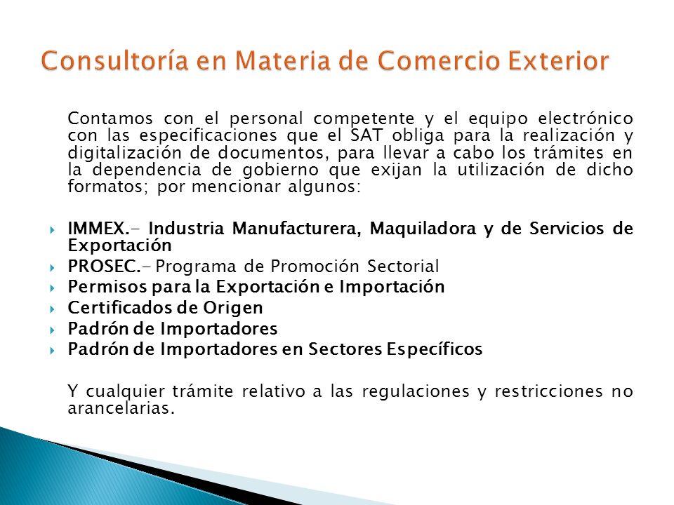Consultoría en Materia de Comercio Exterior