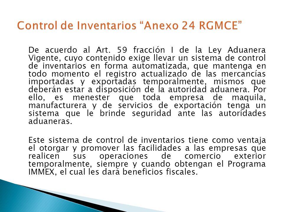 Control de Inventarios Anexo 24 RGMCE