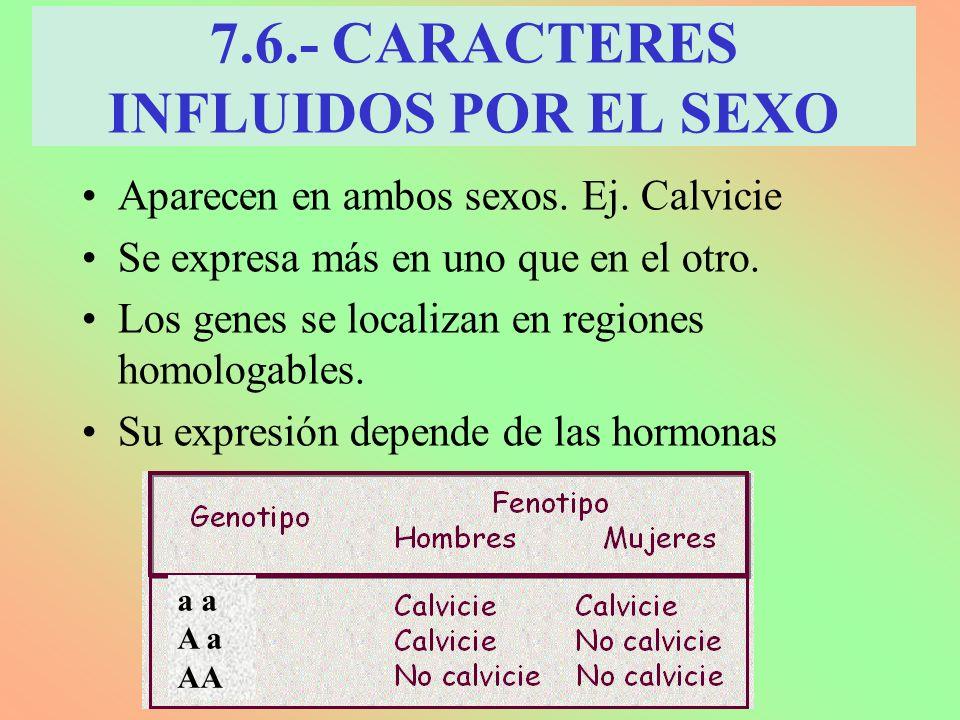 7.6.- CARACTERES INFLUIDOS POR EL SEXO