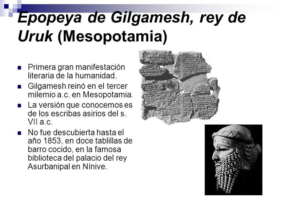 Epopeya de Gilgamesh, rey de Uruk (Mesopotamia)