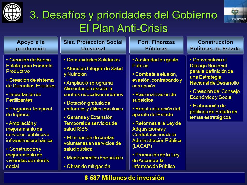 3. Desafíos y prioridades del Gobierno El Plan Anti-Crisis