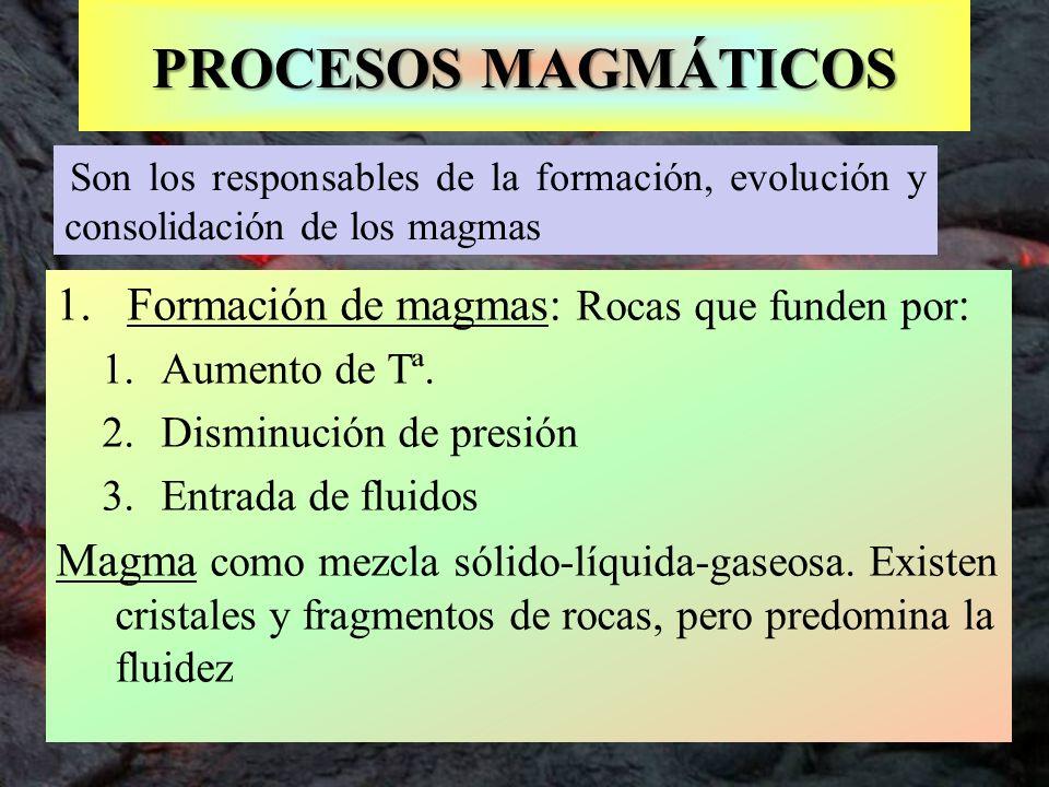 PROCESOS MAGMÁTICOS Formación de magmas: Rocas que funden por:
