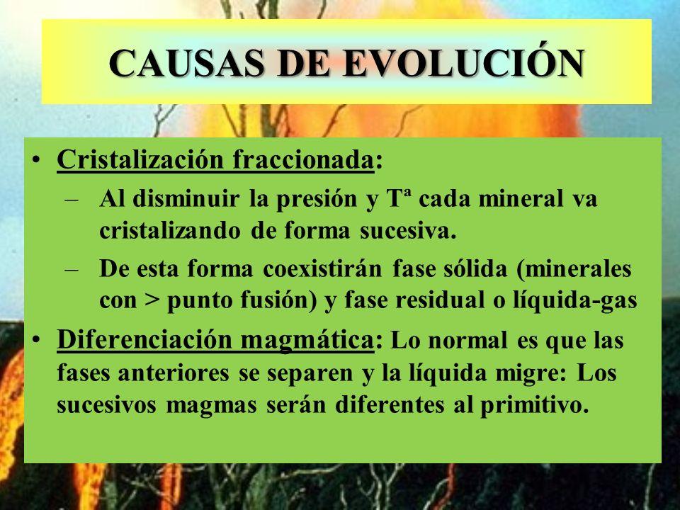 CAUSAS DE EVOLUCIÓN Cristalización fraccionada: