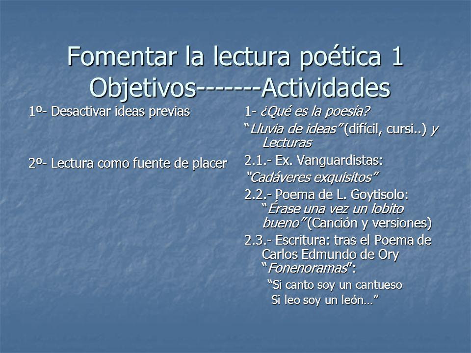 Fomentar la lectura poética 1 Objetivos-------Actividades