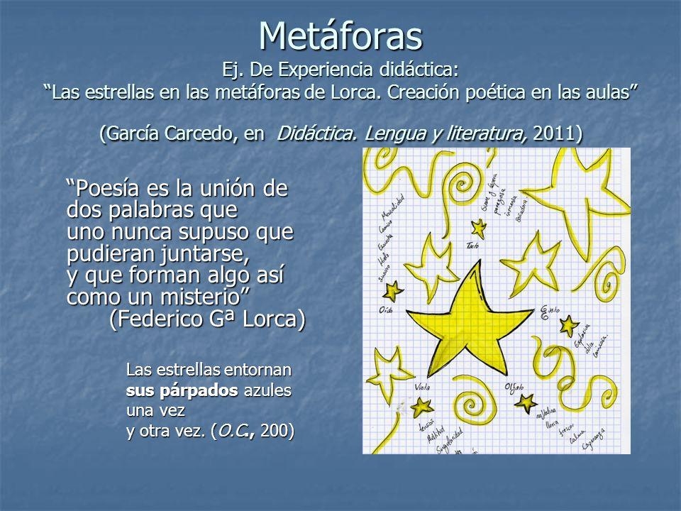 Metáforas Ej. De Experiencia didáctica: Las estrellas en las metáforas de Lorca. Creación poética en las aulas (García Carcedo, en Didáctica. Lengua y literatura, 2011)